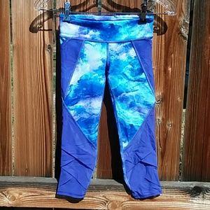 Ivivva cropped leggings girls size 8 blue purple
